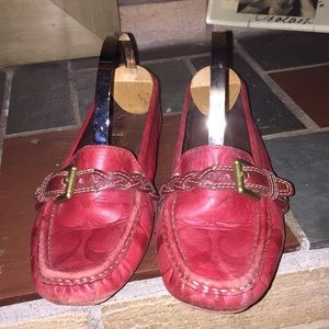 Coach Signature Loafers Size 6.5 Saidey Red